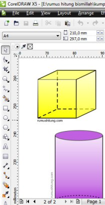 screen shot gambar bangun ruang corel draw