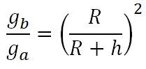 perbandingan gravitasi di permukaan dan di ketinggian tertentu