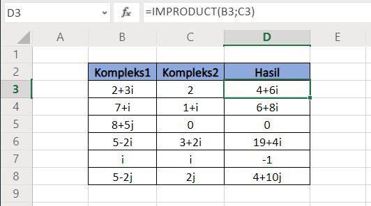 Fungsi Excel IMPRODUCT