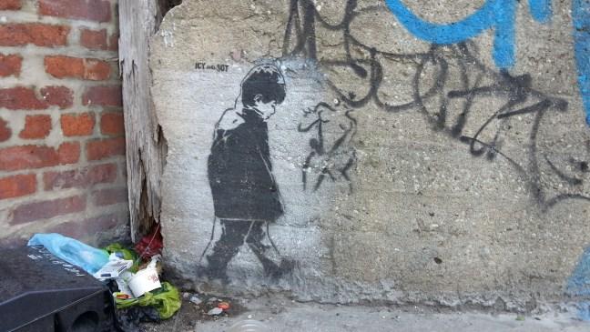 Banksy-esque graffiti in Williamsburg