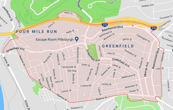 Map highlighting the Greenfield neighborhood of Pittsburgh.