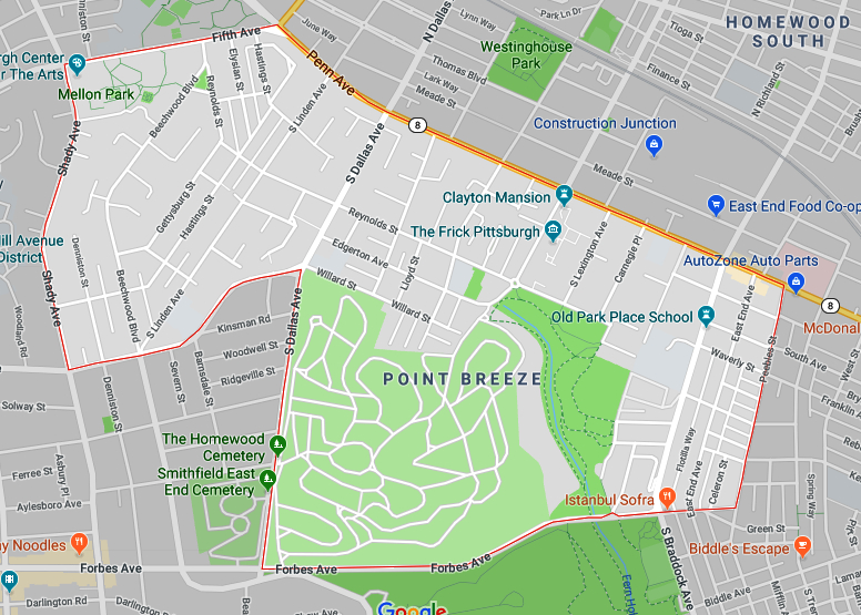 Map of South Point Breeze