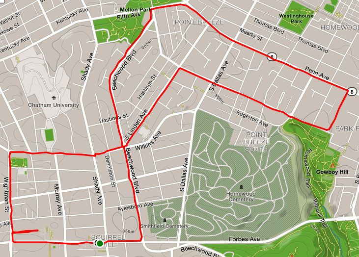 Strava map showing route