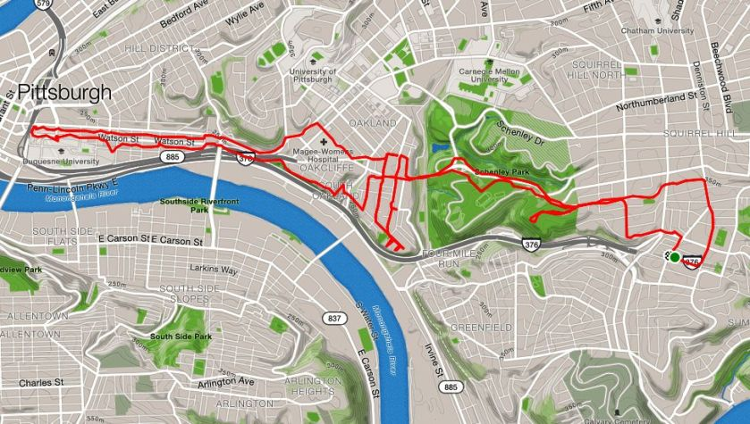 Map showing route of run from Squirrel Hill to downtown