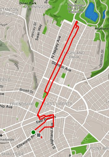 Route from Ellsworth Ave to almost the zoo shown on a map.