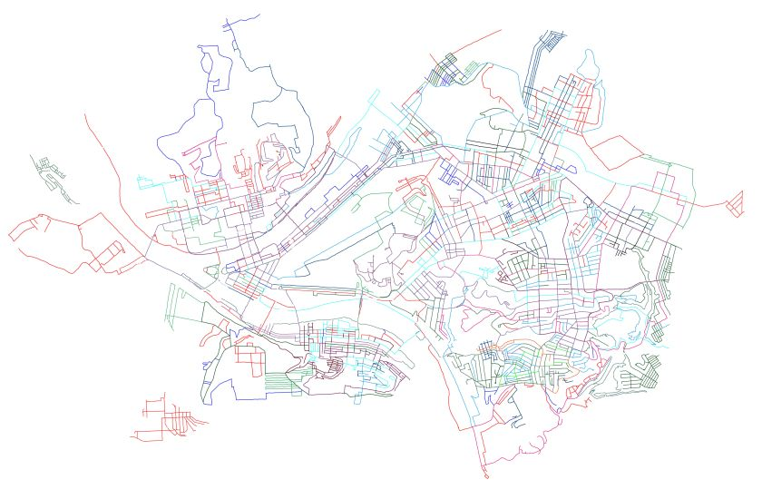 Outline of Streets run in Pittsburgh as of 12/31/2019