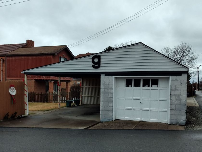 Garage with the letter 'g' on it