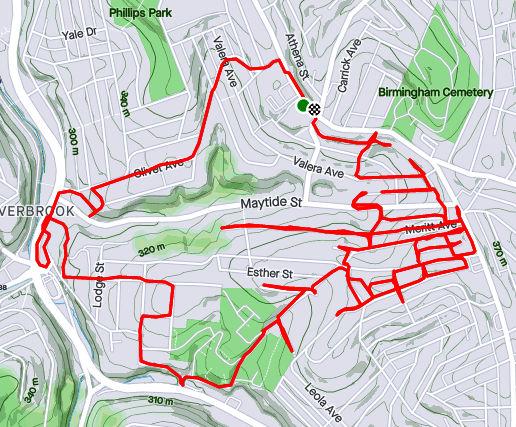 Strava Route of Run 349