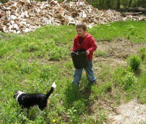 """""""summer"""" helps carry beekeeping equipment"""