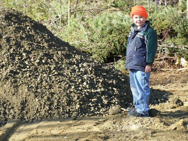 the mound of gravel