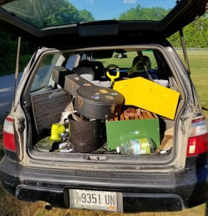 back of a beekeeper's car