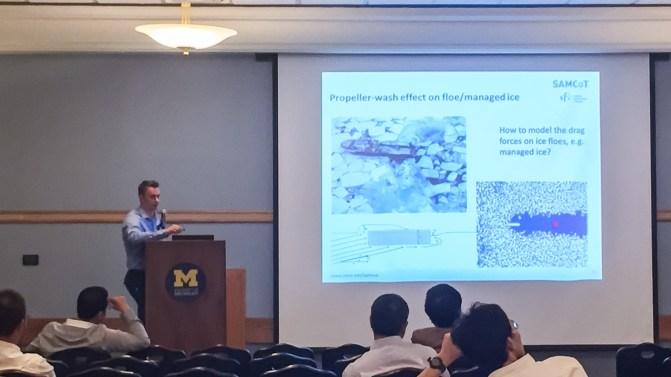 Post doc Andrei Tsarau presenting at IAHR 2016