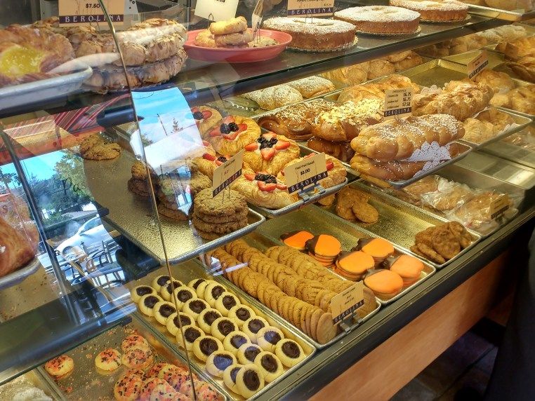 pastry display case at Berolina Bakery in Glendale, CA