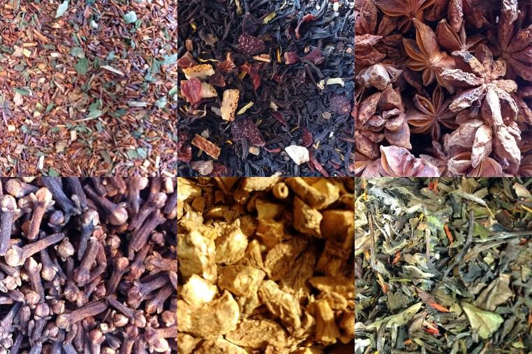 6 photos of close-ups of tea and herbs