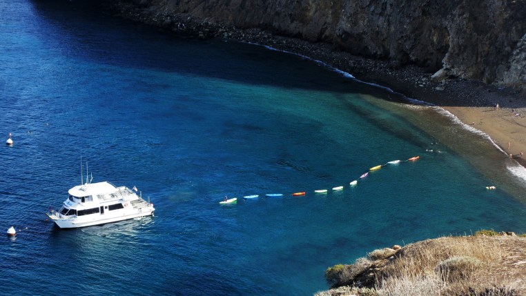 a chain of kayaks being paddled from the beach at Little Scorpion Anchorage to a nearby Island Packers boat at Santa Cruz Island