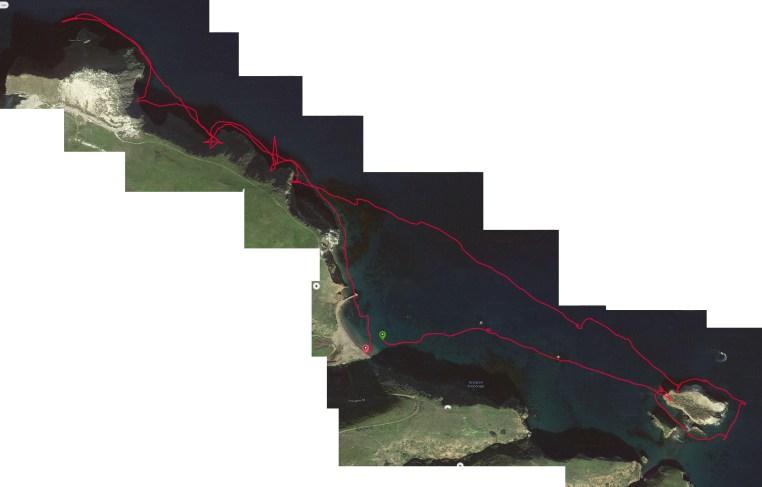 Detailed map of kayak path around the eastern end of Santa Cruz Island, Channel Islands National Park, Santa Barbara Channel, California