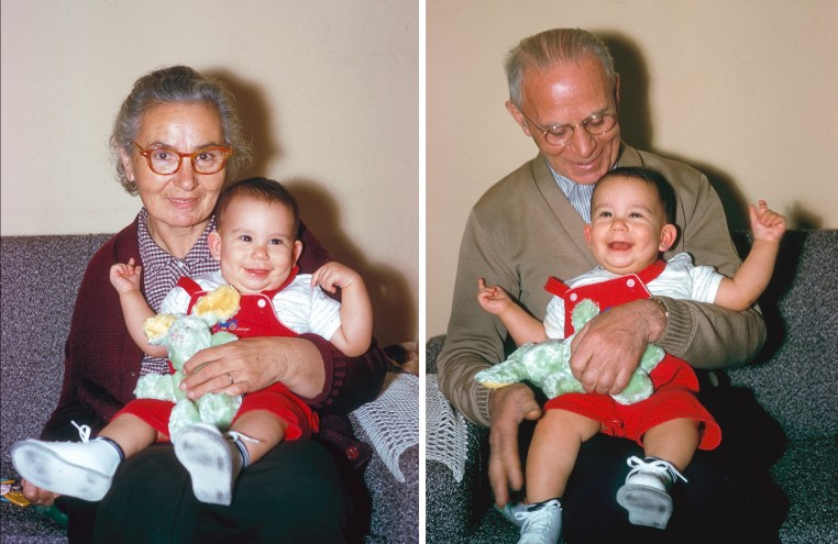 two photos, each of me as an infant and sitting on my grandmother and grandfather's laps