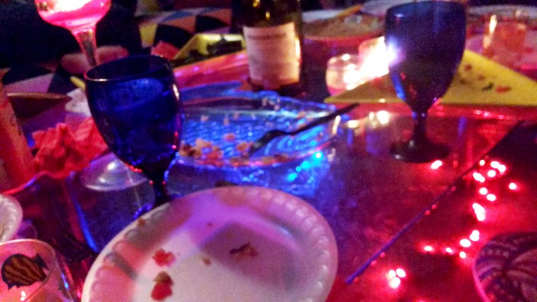 lights around the dinner table