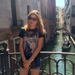 Sofia Shmeleva at the canals in Venice, Italy