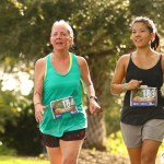 Mom and I finishing at Under the Oaks 10K