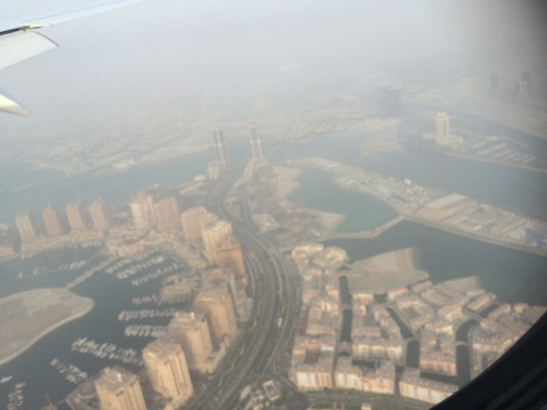 Landing in Qatar on the way to Thailand