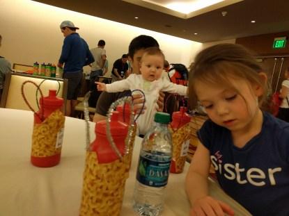 Yep, they're mac-n-cheese water bottles with 'bunny ears'