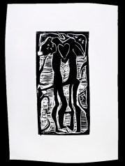 Linoleumtryck av Faruq Omer. Inspirerad av gamla hällristningar.