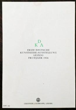 Den anspråkslösa baksidan i den lilla broschyren från 1926.