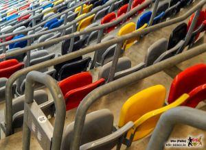 Kreativer als die VfB-Offensive: Die farbliche Sitzkombination im Düsseldorfer Stadion. Bild: © VfB-Bilder.de