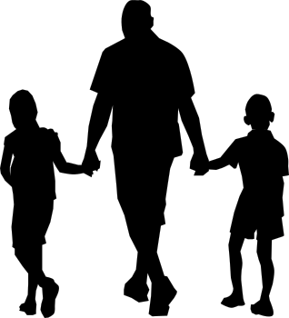 silhouettes of man walking hand in hand with two young children