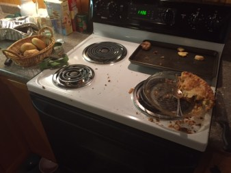 The aftermath at the stove.