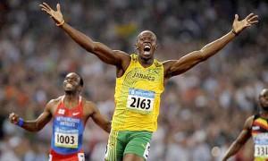 Jamaican runner celebrates after winning a race