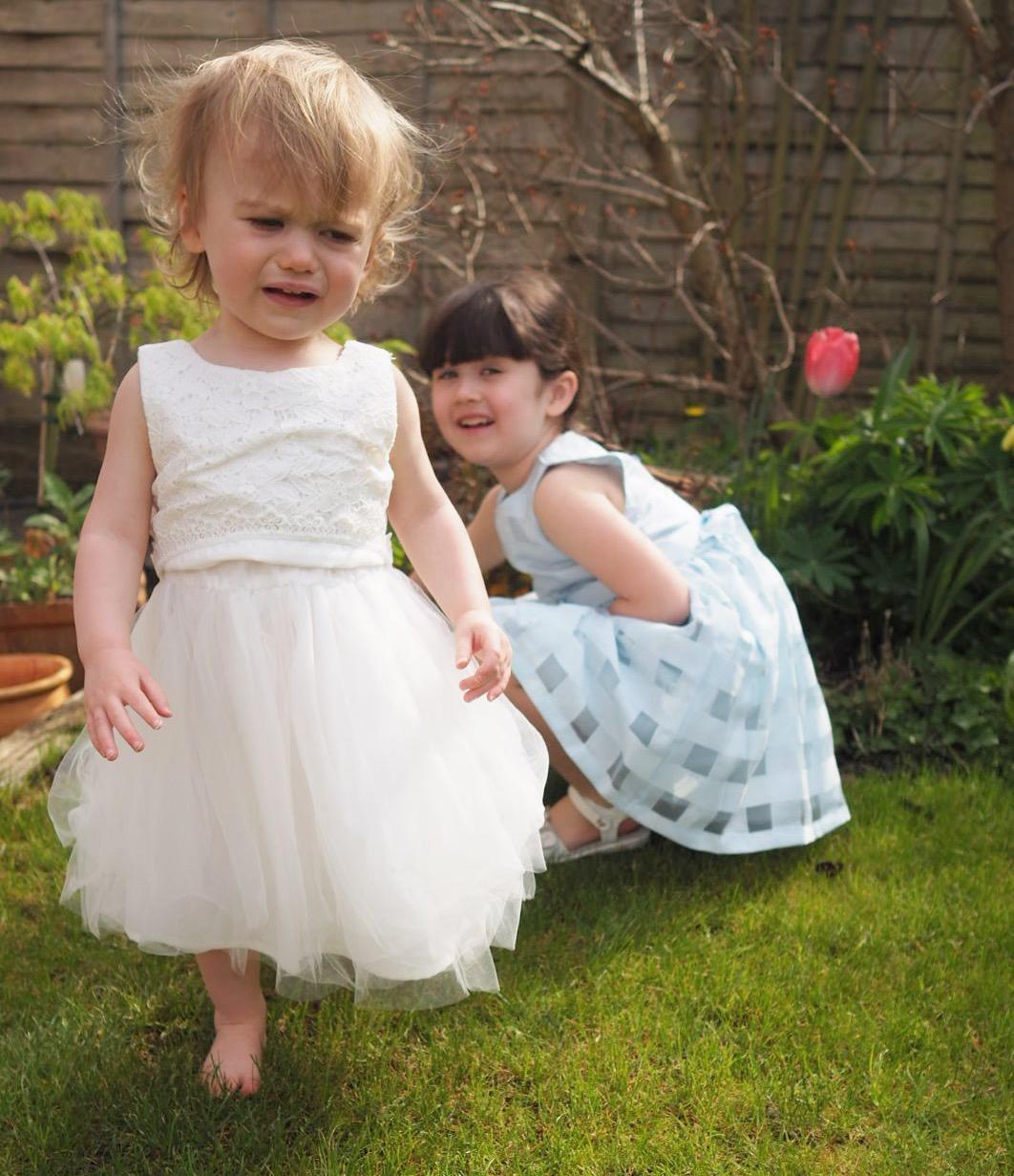 girls in summer garden