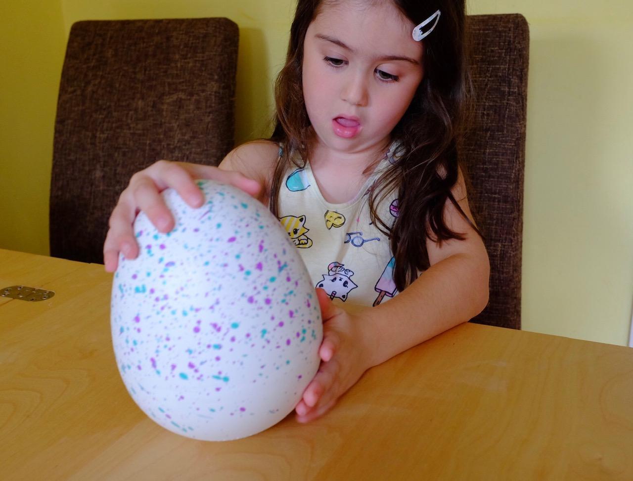 Girl looking at Hatchimals HatchiBabies unhatched egg