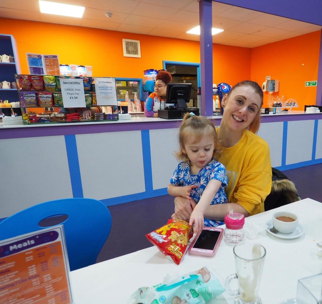 family snacks at Inflatanation Birmingham