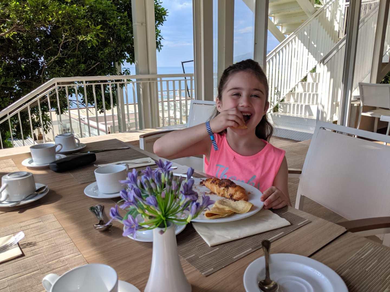 having breakfast in Croatia