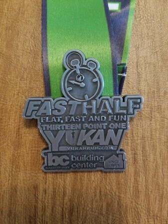 fast half medal close up