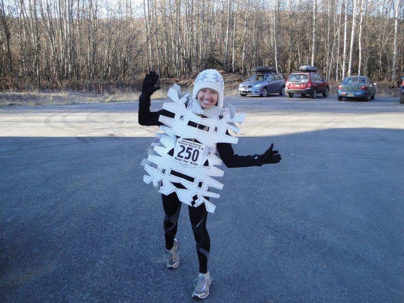 Suzy dressed in snowflake running costume