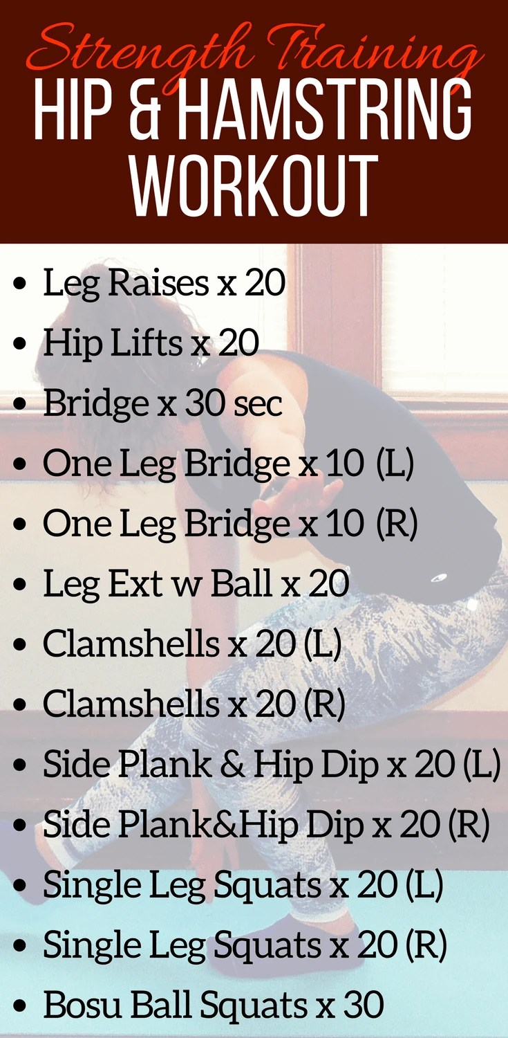 This hip and hamstring workout is ideal cross training for runners! These hip and hamstring strengthening exercises can be completed at home or at the gym. Get stronger in those runner weak spots to stay injury free this training season!