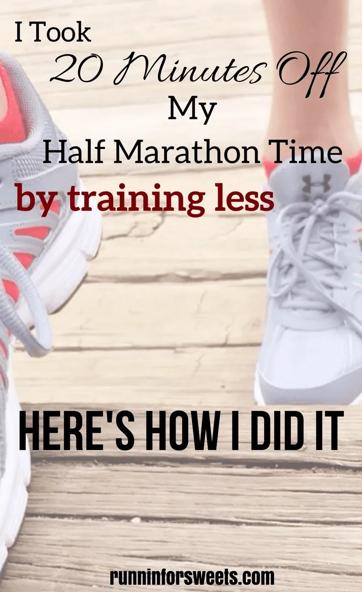 Here's how I took 20 minutes off my half marathon finish time by running less. While running only 3 days a week for two months, I ran a 20 minute PR. Here is a great tip to get faster quickly.