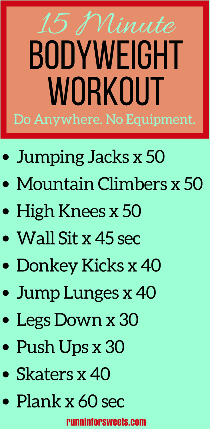 This awesome bodyweight workout is one that you can do anywhere! Whether you're at home or traveling, you have no excuses to skip this 15 minute bodyweight workout. Burn calories with this full body cardio in just 15 minutes! So effective in such a short amount of time.