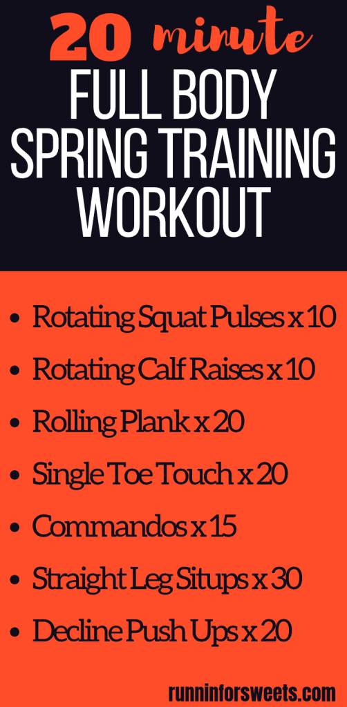 This 20 minute full body workout is the ultimate addition to your spring training routine. These challenging bodyweight exercises create the perfect at home workout with no equipment needed! Quickly increase your fitness and strength this spring season with this effective workout. #fullbodyworkout #athomeworkout #bodyweightexercises