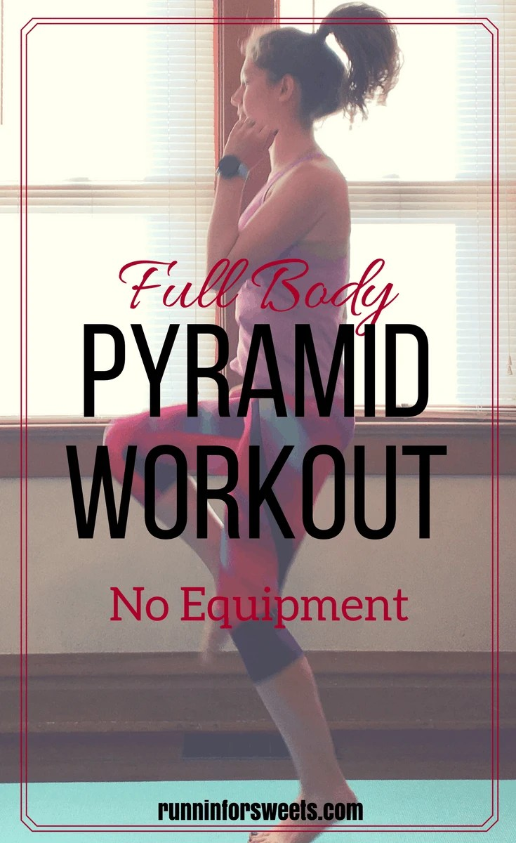 This at home pyramid workout is the ultimate strength workout! Ideal for runners and others hoping to increase their fitness. The full body pyramid workout combines cardio with strength for one of the most epic work outs. If you are looking for strength workout ideas, look no further! This pyramid workout is a game changer for running.