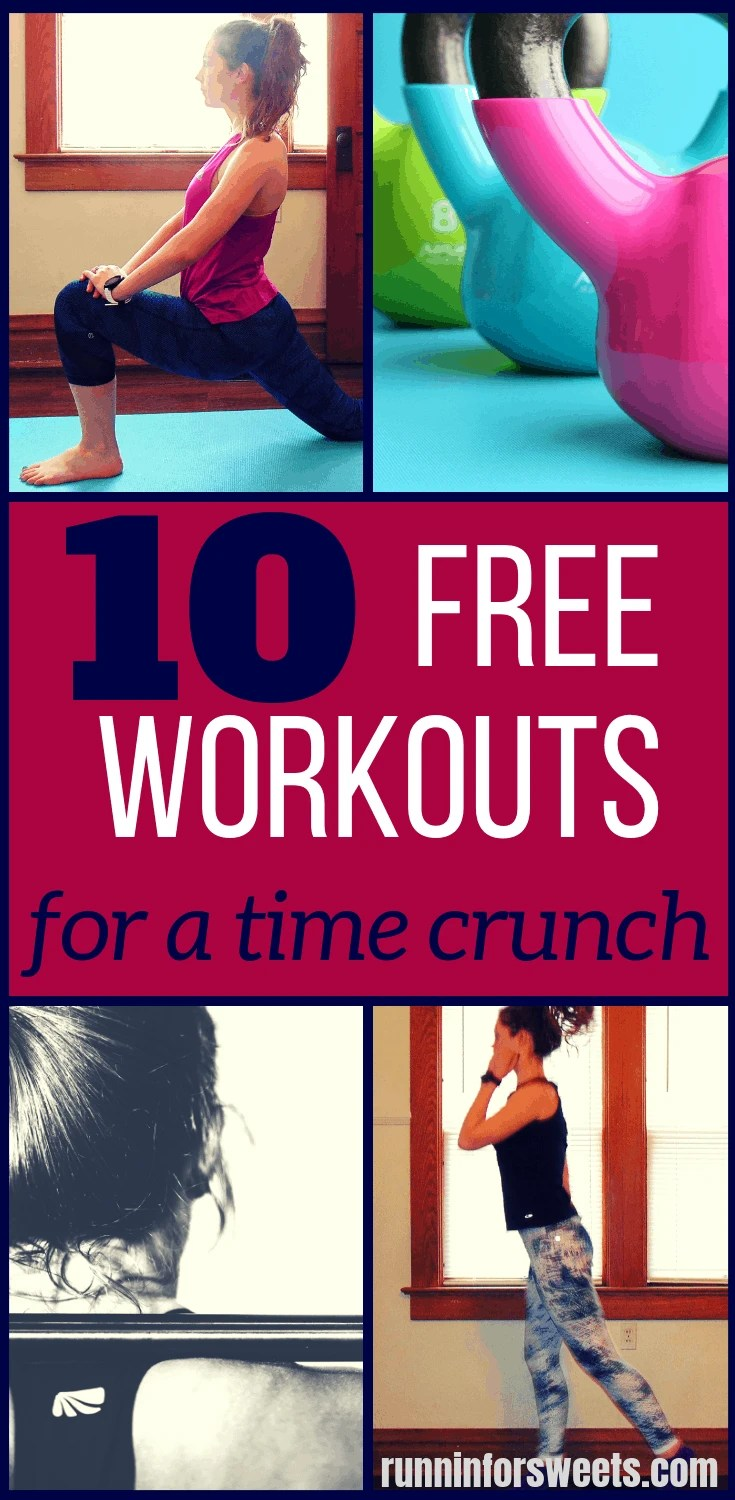 Caption Alternative Text Short on time and struggling to fit in any exercise? Here are the best 10 workouts for a time crunch. This quick workouts are effective, burn calories, and require no equipment. Fit in a workout anywhere! #workoutideas #athomeworkouts #freeworkouts