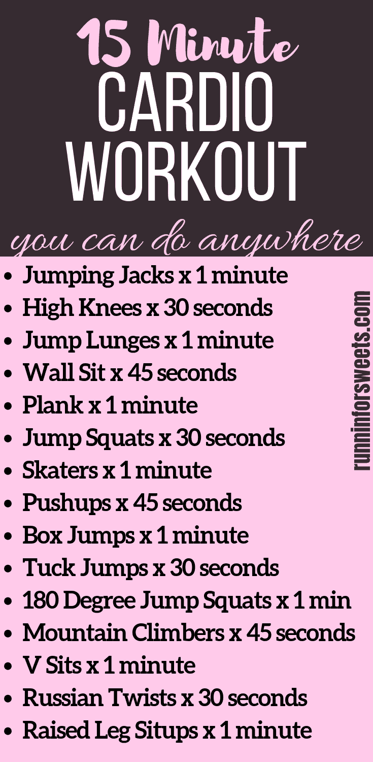 Short on time or unable to leave the house? This is a cardio workout you can do anywhere. These bodyweight exercises get your heart pumping and sweat dripping! In just 15 minutes you can complete an intense full body cardio workout right at home in your living room. This cardio routine requires no equipment and is perfect for staying fit during the cold, dark months. #cardioworkout #bodyweightexercises #fullbodyworkout #athomeworkout