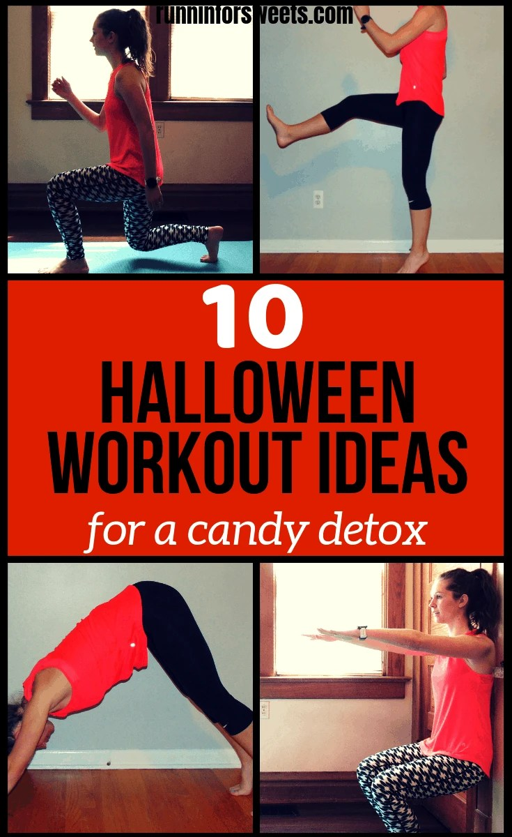 These 10 Halloween workout ideas are a great way to earn those extra treats! Burn some calories before heading out trick or treating with any of these amazing 10 workouts. All of the workouts can be completed in 30 minutes or less and require no equipment. Burn calories right at home with these fitness challenges and workout ideas! #halloweenworkout #workoutideas #athomeworkout