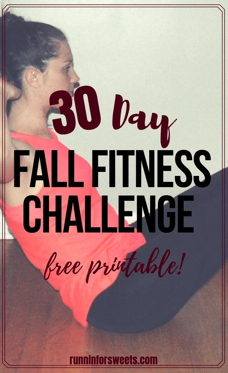 This 30 Day Fitness Challenge is the ultimate workout program for the season! Complete with daily workout ideas for fall, this Fall Fitness Challenge is beneficial for beginners to advanced athletes. Choose to workout at home and strengthen your full body in just 30 days. Download this fitness challenge printable for free! #fitnesschallenge #fallfitness #workoutchallenge #30dayfitnesschallenge