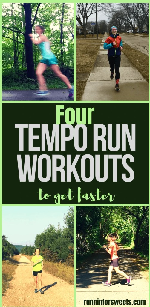 These 4 tempo run workouts are the perfect way to increase running speed and endurance. Each tempo run is perfect for any training plan, from 5k to marathons. Use these running workouts to get faster either outdoors or on the treadmill this season! #temporun #runningworkouts #temporunworkouts #runningtips