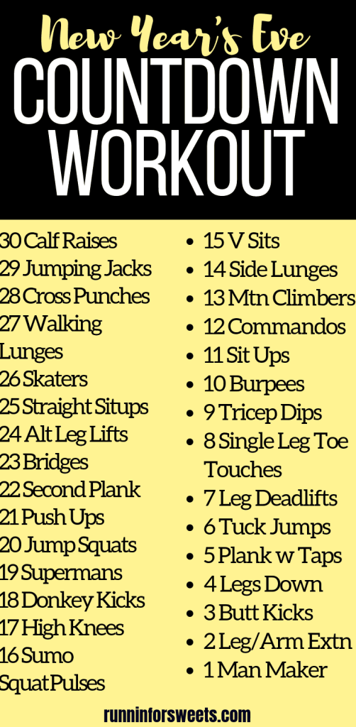 This New Year's Eve Countdown Workout is an epic way to end your year! Complete this New Year's Workout right at home or when traveling. Try this workout challenge all at once or spread it out over 30 days before the New Year. This no equipment workout is the perfect plan for the end of the year! #newyearsworkout #newyearsfitness