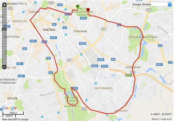 Parcours des 20 kms de Bruxelles 2016